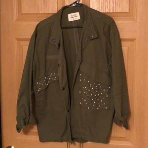 Army green jacket with pearls